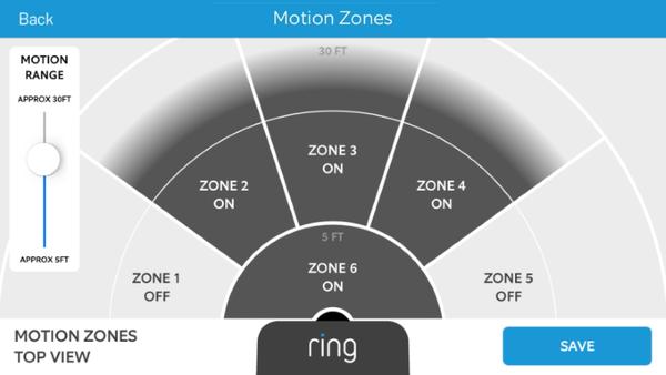 Setting motion zones in mobile app.