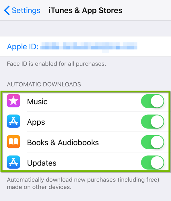 iTunes and Ap Stores settings ith Automatic Downloads highlighted.