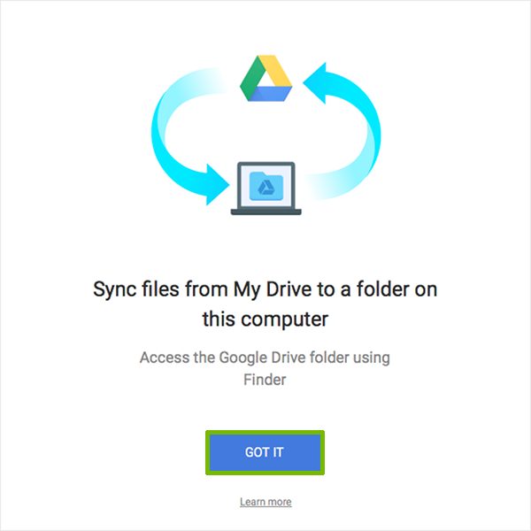 Sync folder introduction with Got It highlighted.