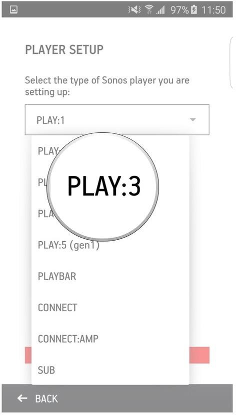 Sonos app selecting a device screen.