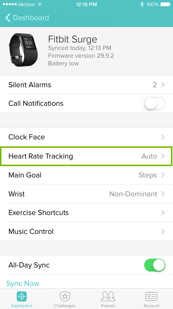 Fitbit app with Heart Rate Tracking highlighted. Screenshot