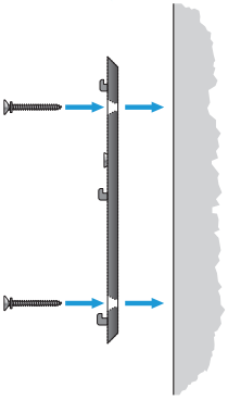 Diagram of installing screws through backplate to wall