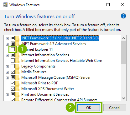 Windows features with empty box for Internet Explorer highlighted. Screenshot