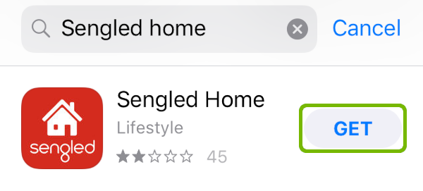 App Store search with Get highlighted.
