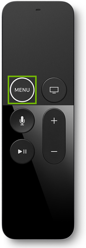 Apple TV remote control highlighting the menu button.