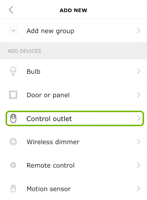 Control outlet option highlighted in Ikea Tradfri app.