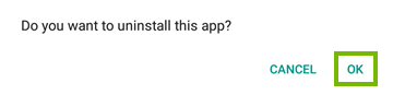 App uninstall confirmation query.