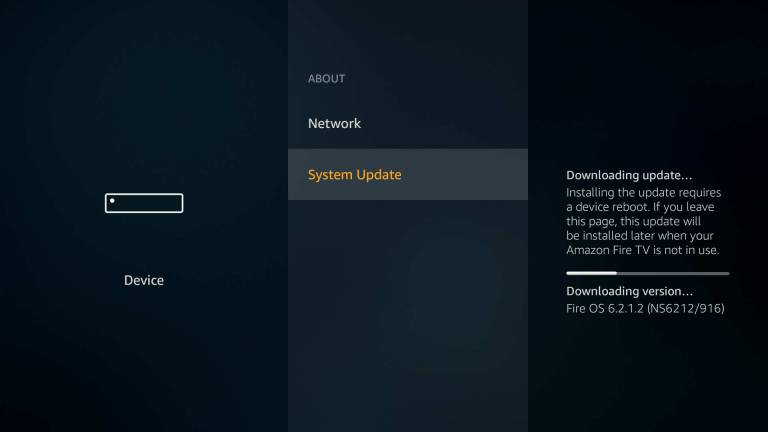 About screen with System Update option selected. Screenshot.
