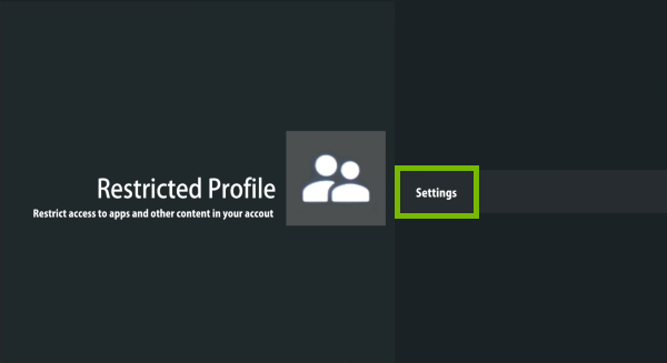 Settings highlighted in Restricted profile options on Android TV.