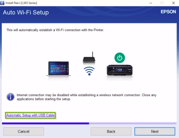 Epson printer installation screen highlighting the automatic setup with USB cable option.