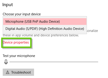Windows 10 device properties for input