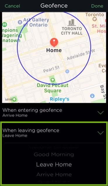 Leaving geofence option highlighted in HomeKit settings of ecobee app.