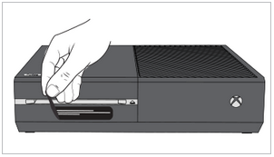 Illustration of Xbox One with fingers pulling away tape