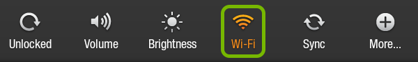 Wi-Fi icon highlighted in Quick Settings of Kindle Fire.