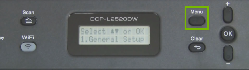 Brother printer control panel highlighting the menu button.