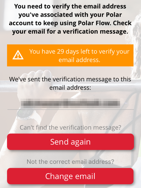 Email verification screen in Polar Flow app.