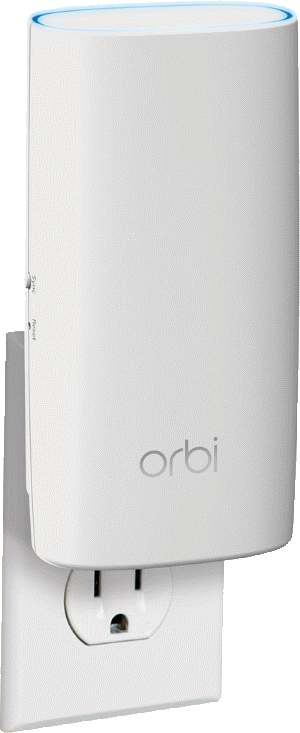 Orbi Wall Plug Satellite plugged into electrical outlet.