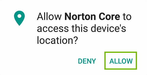 Location access request with Allow highlighted.