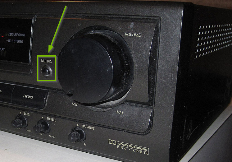 Common AV receiver with a muting button highlighted.