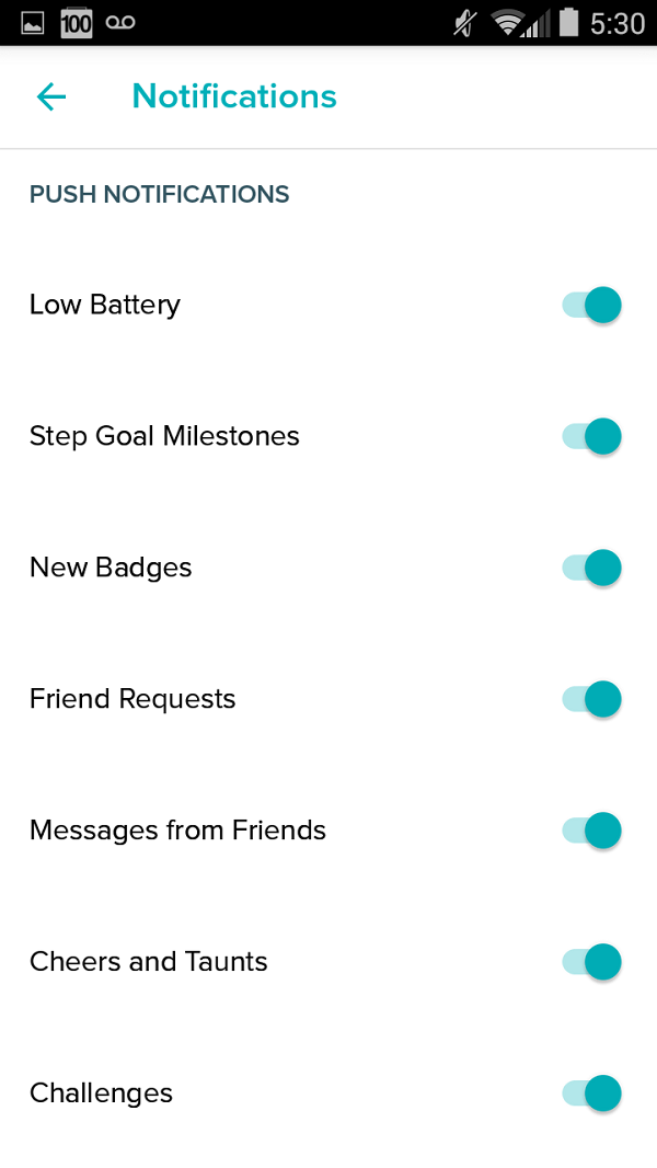 Notification menu. Screenshot