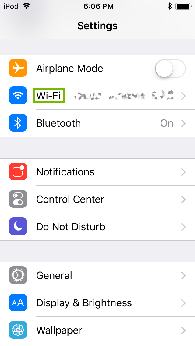 Settings menu with Wi-Fi selected. Screenshot.
