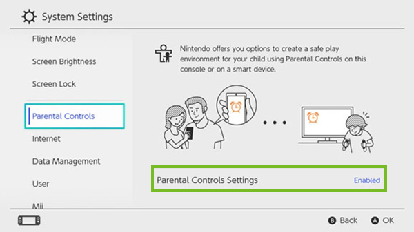 Parental control settings button