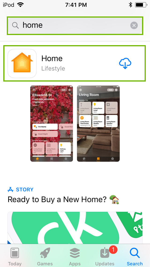 App store searching for Home