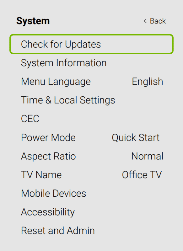 Check for Updates option highlighted in System settings of VIZIO Smart TV.