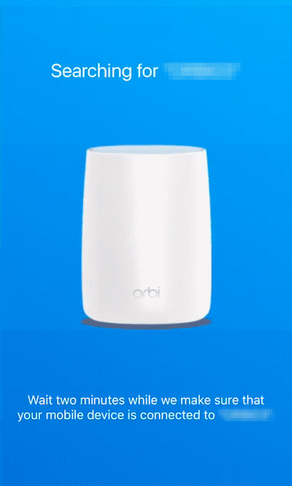 Orbi app searching for WiFi network.