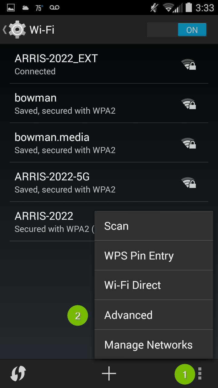 Advanced Wi-Fi Settings. Screenshot