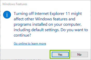 Confirmation page with Yes highlighted. Screenshot