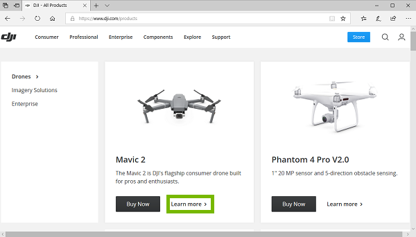 DJI product page with Learn more highlighted. Screenshot