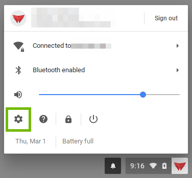 User Menu with Settings highlighted.