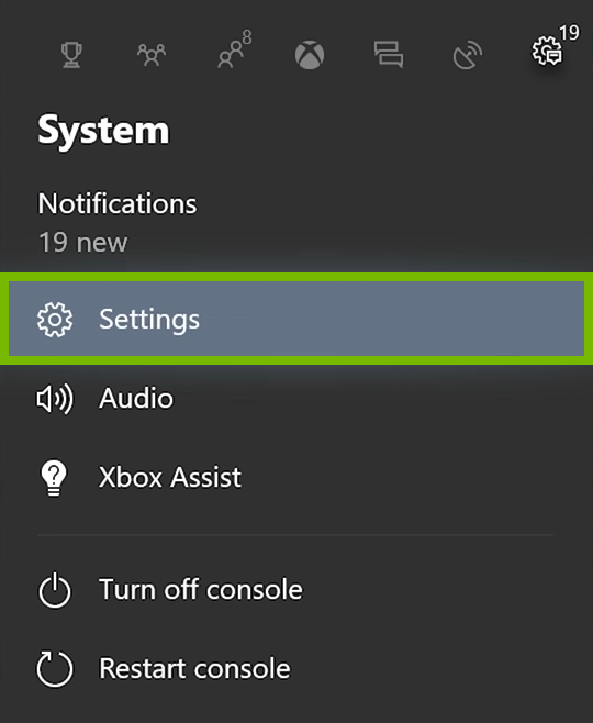 Settings option highlighted in Xbox One menu.