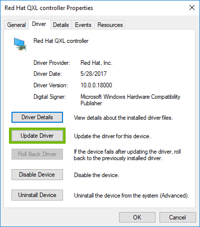 Driver Properties with Update Driver highlighted.