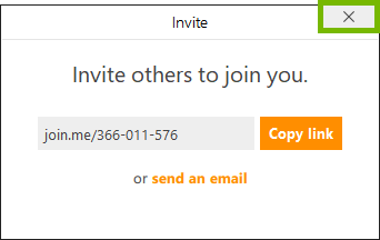 Close button highlighted on invitation box in join.me app.