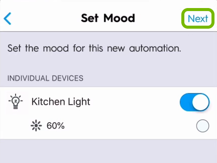 Next option highlighted in lights customization screen of C by GE app.