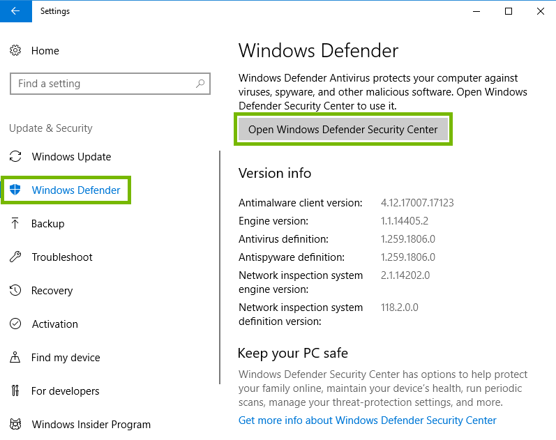 screenshot of security settings with windows defender and open windows defender security center button highlighted