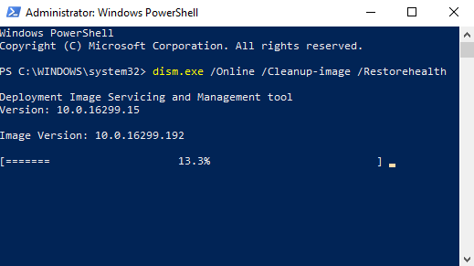 dsim running in PowerShell