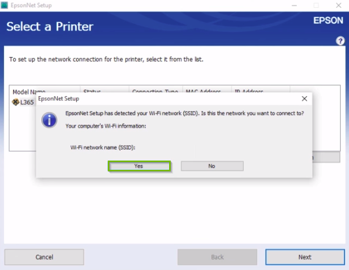 Epson printer installation popup asking to confirm the Wi-Fi network name with the yes button highlighted.