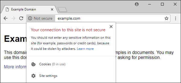 Chrome website is not secure