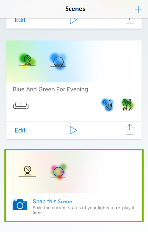 Snap this Scene tile highlighted in WiZ app.