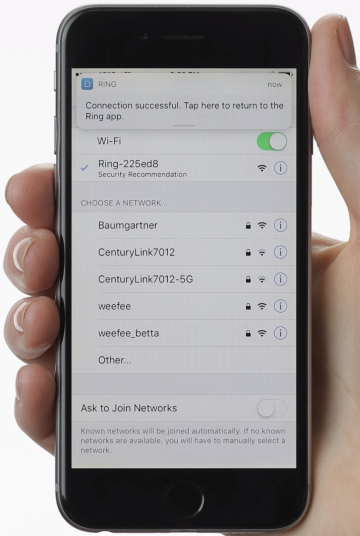 Ring app confirming the mobile device has successfully connected to the setup network.