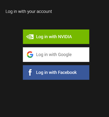 GeForce Experience log in