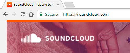 Google Chrome browser displaying the Soundcloud website.