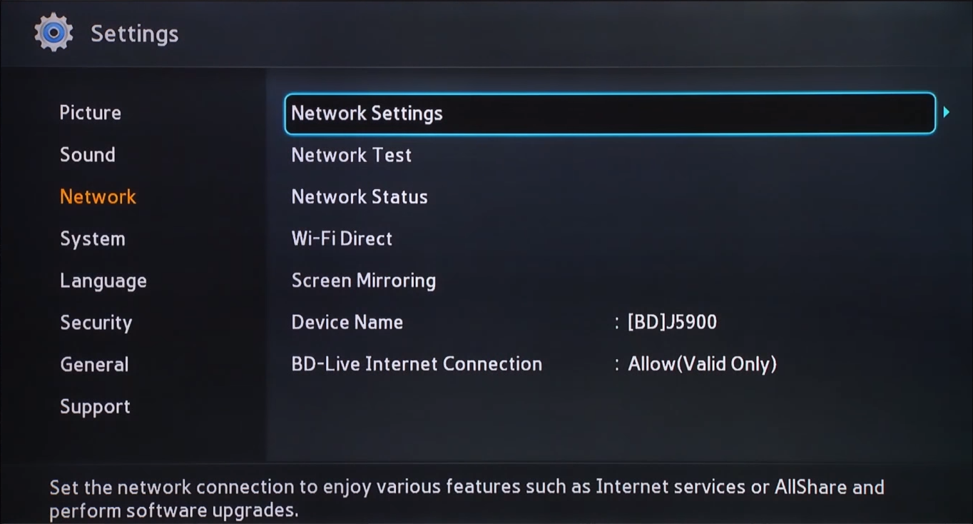 Blu-ray network menu with settings highlighted