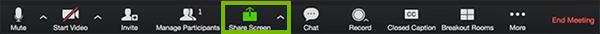 Screen sharing menu