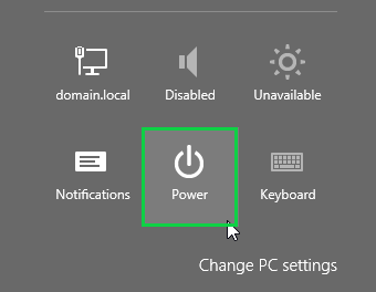 Windows 8.1 charms bar showing Power icon highlighted