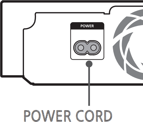Diagram of power cable location on back of Blu-Ray player