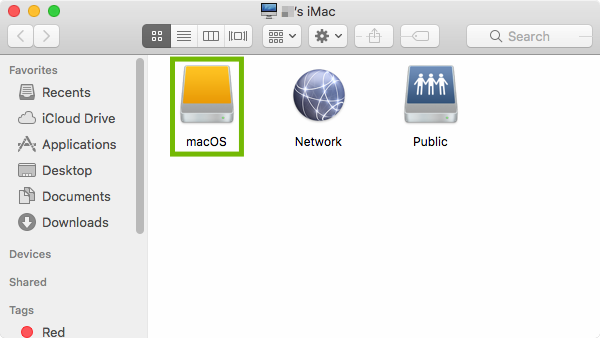 Finder showing Computer with macOS hard drive highlighted.